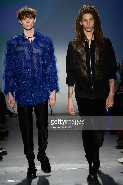 Modela walk the runway at the Flying Solo Fashion Show during NYFW February 2019 at Pier 59 on February 9 2019 in New York City