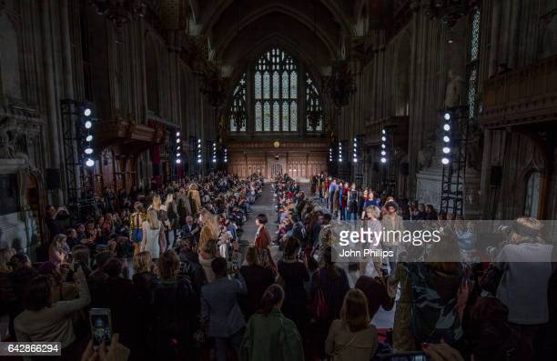 Modela walk the runway at the TOGA show during the London Fashion Week February 2017 collections on February 19 2017 in London England