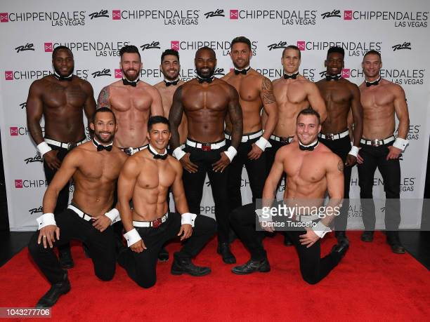 Model/actor Tyson Beckford and Chippendales performers pose for a photo at Chippendales Las Vegas at Rio All-Suit Hotel And Casino on September 29,...
