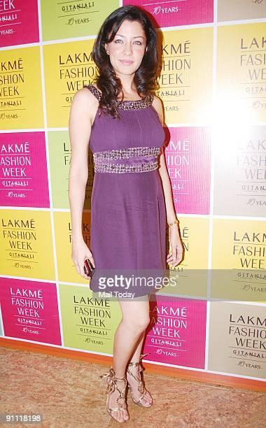 ModelActress Aditi Govitrikar on the fourth day of Lakme Fashion week in Mumbai