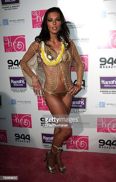 Model/Actress Adrianne Curry attends the HER Luau at The Playboy Mansion on July 21 2007 in Holmby Hills California