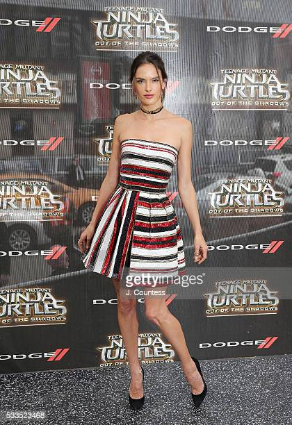 Model/actress Alessandra Ambrosio attends the Teenage Mutant Ninja Turtles Out Of The Shadows World Premiere at Madison Square Garden on May 22 2016...