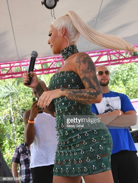 Model/actress Amber Rose hair detail speaks to guests at the Flamingo Go Pool Dayclub at Flamingo Las Vegas on May 26 2018 in Las Vegas Nevada