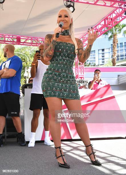Model/actress Amber Rose speaks to guests at the Flamingo Go Pool Dayclub at Flamingo Las Vegas on May 26 2018 in Las Vegas Nevada