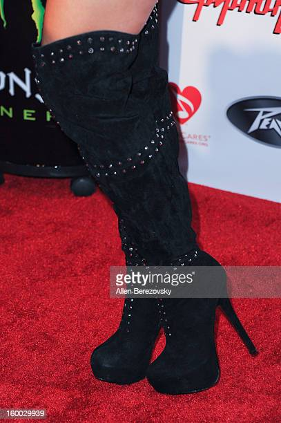 Model/actress Amie Nicole arrives at the Revolver/Guitar World Rock Roll roast of Dee Snider at City National Grove of Anaheim on January 24 2013 in...