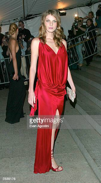 Model/actress Angela Lindvall arrives at the Metropolitan Museum of Art Costume Institute Benefit Gala sponsored by Gucci April 28 2003 at The...