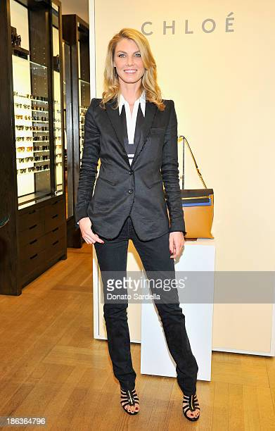 Model/actress Angela Lindvall attends Clare Waight Keller's launch of the 'Claire' handbag with Angela Lindvall and Tomoko Ogura at Barneys New York...