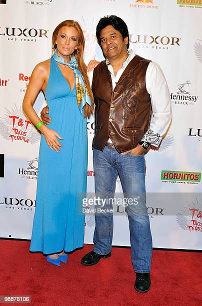 Model/actress Angelica Bridges and actor Erik Estrada arrive at the 12Hour Cinco de Mayo Fiesta at Tacos Tequila at The Luxor Resort Casino on May 5...