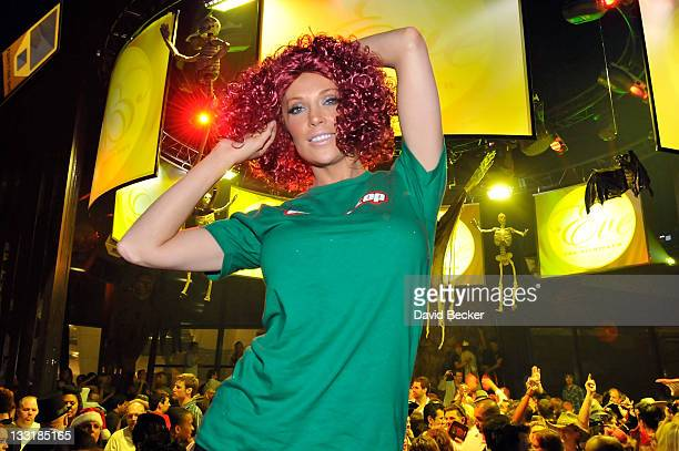 Model/actress Angelica Bridges dressed like Carrot Top attends the Halfway to Halloween Party at the Eve nightclub at Crystals at CityCenter April 24...