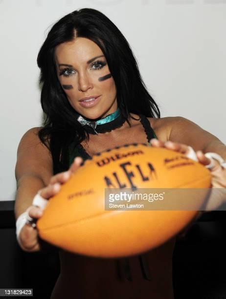 Model/actress Angelica Bridges from the Lingerie Football League's newlyformed Las Vegas team unveils the 2011 Lingerie Bowl official game uniforms...