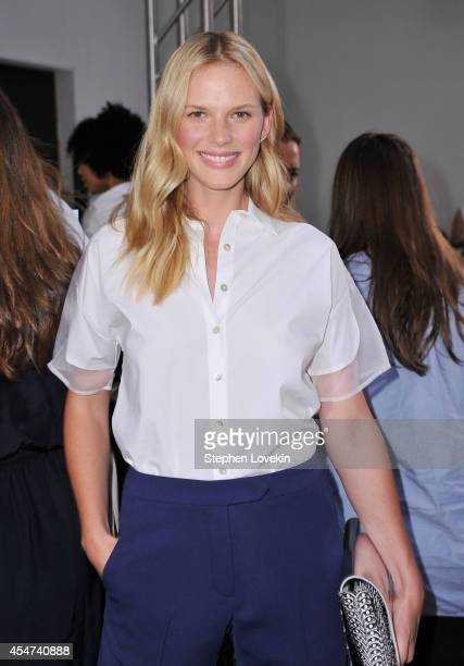 Model/actress Anne V attends the Nonoo fashion show during MercedesBenz Fahion Week Spring 2015 at 775 Washington Street on September 5 2014 in New...