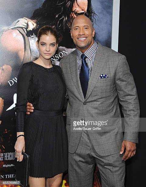 Model/actress Barbara Palvin and actor Dwayne Johnson arrive at the Los Angeles Premiere of 'Hercules' at TCL Chinese Theatre on July 23 2014 in...