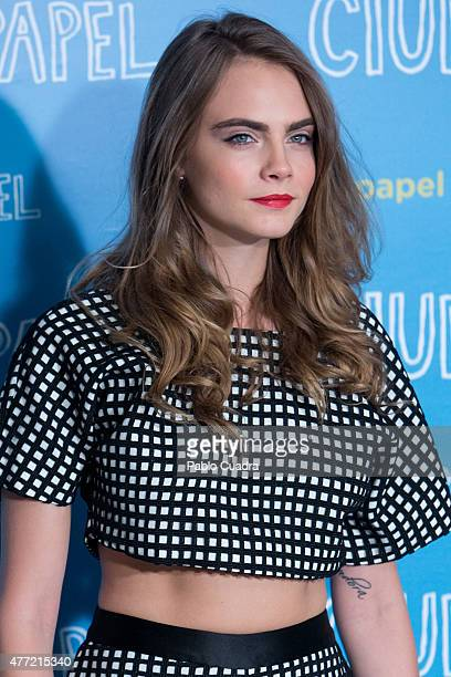 Model/Actress Cara Delevingne attends the 'Paper Towns' photocall at the Villamagna Hotel on June 15, 2015 in Madrid, Spain.
