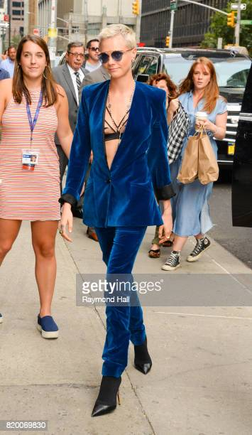 Model/Actress Cara Delevingne is seen arriving at 'The Late Show with Stephen Colbert' on July 20 2017 in New York City