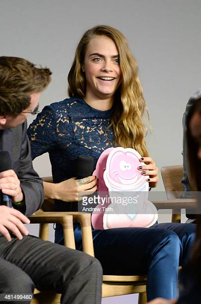 """Model/actress Cara Delevingne speaks on stage during Meet the Filmmaker: Jake Schreier, John Green, Cara Delevingne, and Nat Wolff, """"Paper Towns"""" at..."""