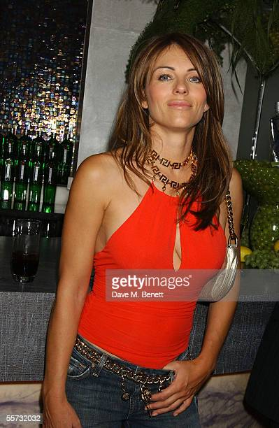 Model/actress Elizabeth Hurley attends the 20th Anniversary Party for shoe designer Patrick Cox at Nobu, Berkeley Street on September 20, 2005 in...