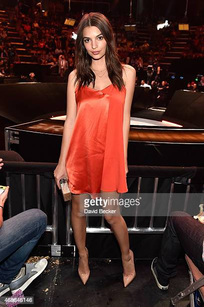Model/actress Emily Ratajkowski attends BKB 2 Big Knockout Boxing at the Mandalay Bay Events Center on April 4 2015 in Las Vegas Nevada