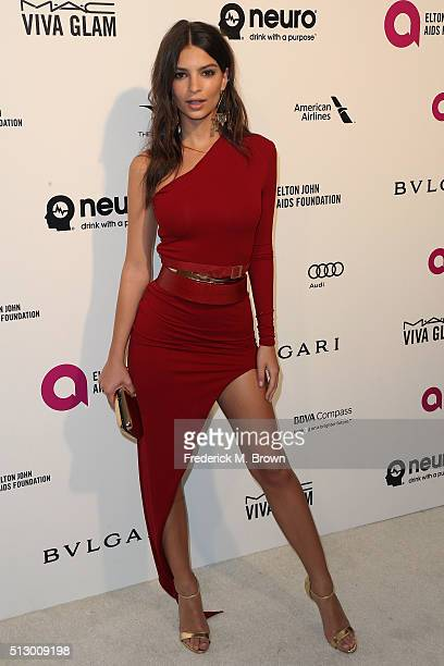 Model/actress Emily Ratajkowski attends the 24th Annual Elton John AIDS Foundation's Oscar Viewing Party on February 28 2016 in West Hollywood...