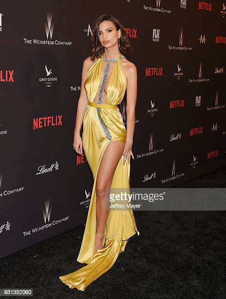 Modelactress Emily Ratajkowski attends The Weinstein Company and Netflix Golden Globe Party presented with FIJI Water Grey Goose Vodka Lindt...