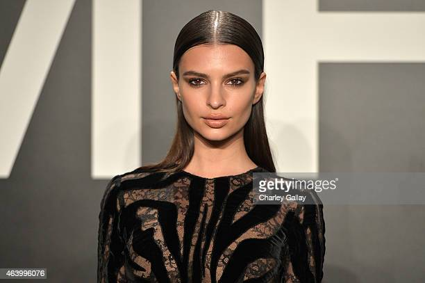 Model/actress Emily Ratajkowski wearing TOM FORD attends the TOM FORD Autumn/Winter 2015 Womenswear Collection Presentation at Milk Studios in Los...