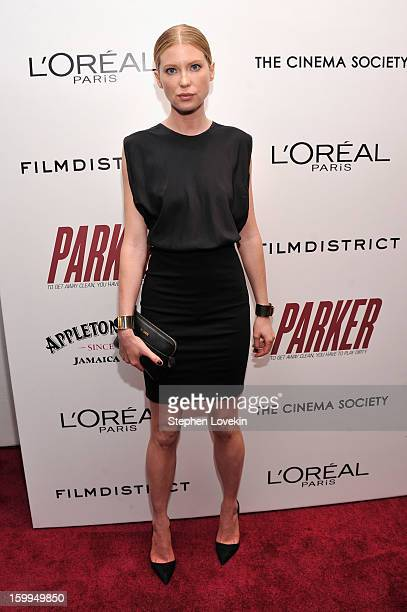 Model/actress Emma Booth attends a screening of Parker hosted by FilmDistrict The Cinema Society L'Oreal Paris and Appleton Estate at MOMA on January...