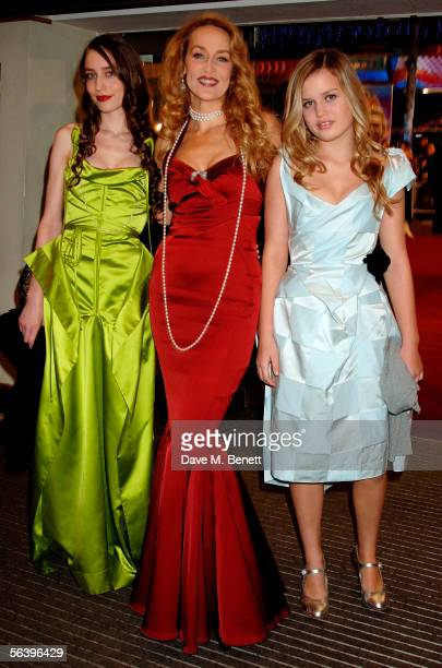 Model/actress Jerry Hall with her two daughters Elizabeth and Georgia Jagger arrive at the UK Premiere of 'King Kong' at the Odeon Leicester Square...