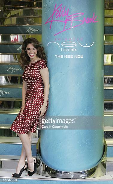 Model/Actress Kelly Brook launches the first beachwear range for highstreet fashion chain New Look at their Oxford Street store on April 3 2006 in...