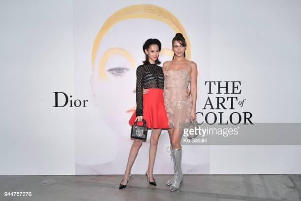 Model/actress Kiko Mizuhara and Model Bella Hadid attend Dior's The Art of Color Press Preview on April 11 2018 in Tokyo Japan