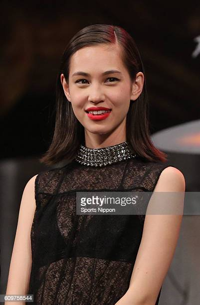 Model/Actress Kiko Mizuhara attends preview screening of film 'Attack on Titan' on July 21 2015 in Tokyo Japan