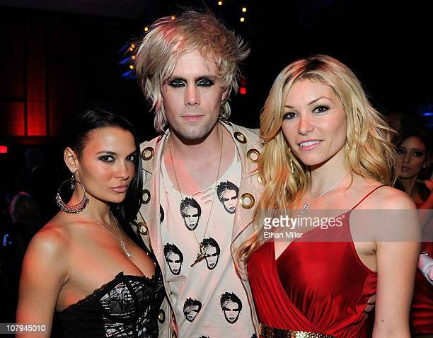 Model/actress Krista Ayne Semi Precious Weapons singer Justin Tranter and model Heather Vandeven appear at the 28th annual Adult Video News Awards...