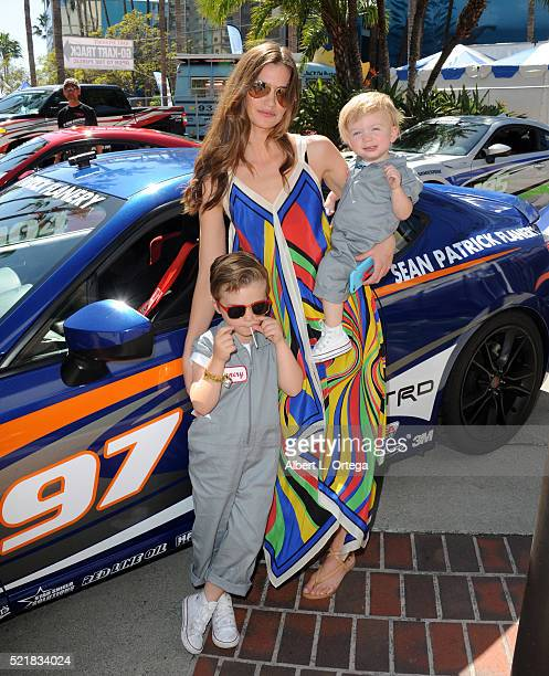 Model/actress Lauren Michelle Hill with sons Charlie and Porter at the 42nd Toyota Pro/Celebrity Race Race Day to Benefit Racing For Kids held on...