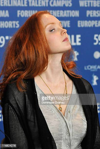 """Model-actress Lily Cole attends the """"Rage"""" press conference during the 59th Berlin International Film Festival at the Grand Hyatt Hotel on February..."""