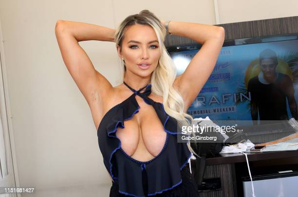 Model/actress Lindsey Pelas hosts a pool party at the Sapphire Pool Day Club on May 25 2019 in Las Vegas Nevada