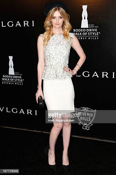 Model/actress Lydia Hearst attends the Rodeo Drive Walk Of Style honoring BVLGARI and Mr Nicola Bulgari held at Bulgari on December 5 2012 in Beverly...