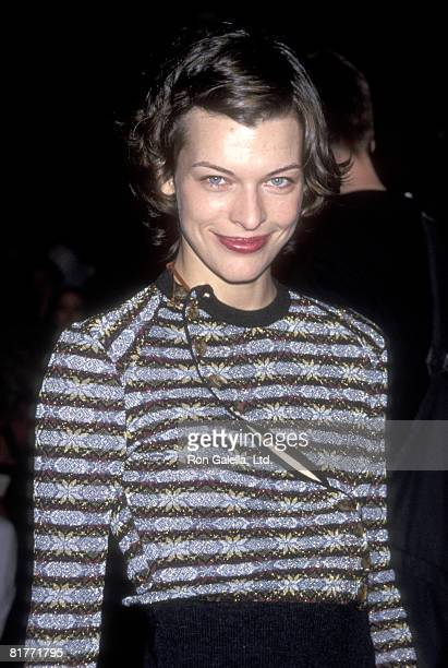 Model/Actress Milla Jovovich attends the 'Vivienne Westwood Fashion Show' on September 17 1999 at Bryant Park in New York City New York