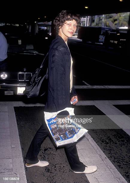 Model/Actress Milla Jovovich on May 2 1997 arriving at the Los Angeles International Airport in Los Angeles California