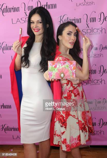 Model/actress Natasha Blasick and actress Mandy Amano attend the Valentine's Day Meet And Greet and Taping of docuseries 90s Girl For Katarina Van...