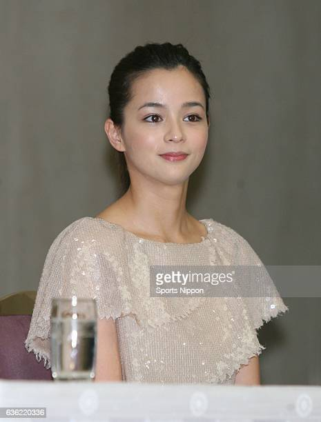 Model/Actress Rosa Kato attends press conference of Fuji TV drama 'Change' on April 9 2008 in Tokyo Japan