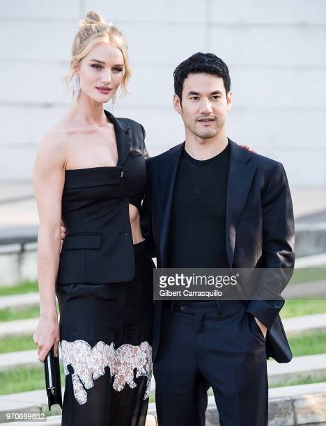 Model/actress Rosie HuntingtonWhiteley and fashion designer Joseph Altuzarra are seen arriving to the 2018 CFDA Fashion Awards at Brooklyn Museum on...