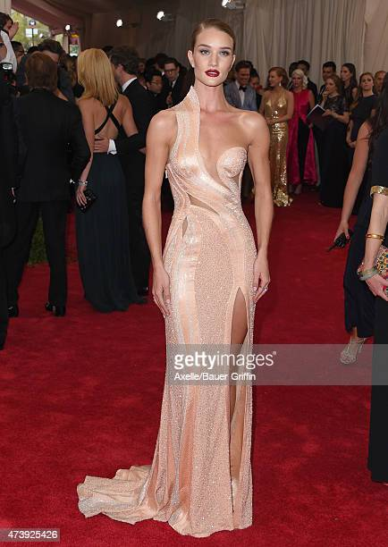 Model/actress Rosie HuntingtonWhiteley attends the 'China Through The Looking Glass' Costume Institute Benefit Gala at the Metropolitan Museum of Art...
