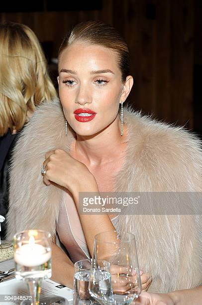 Model/actress Rosie HuntingtonWhiteley attends the Galvan For Opening Ceremony Dinner Hosted By Swarovski at Private Residence on January 13 2016 in...