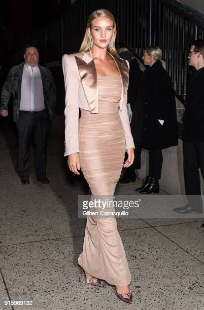 Model/actress Rosie HuntingtonWhiteley is seen arriving to Tom Ford Women's Fall/Winter 2018 fashion show during New York Fashion Week at Park Avenue...