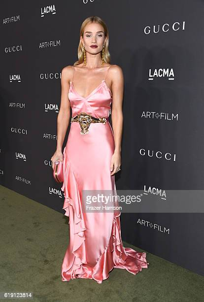 Model/actress Rosie HuntingtonWhiteley wearing Gucci attends the 2016 LACMA Art Film Gala honoring Robert Irwin and Kathryn Bigelow presented by...