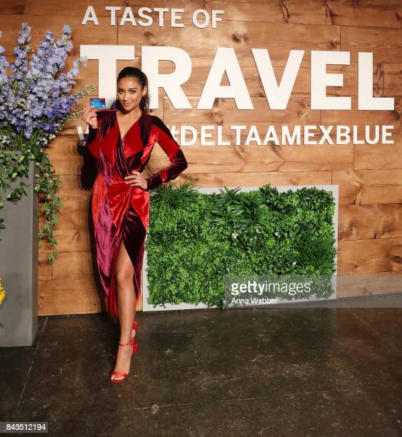 Model/Actress Shay Mitchell attends the launch event of the Blue Delta SkyMiles® Credit Card from American Express at the Taste of Travel event on...