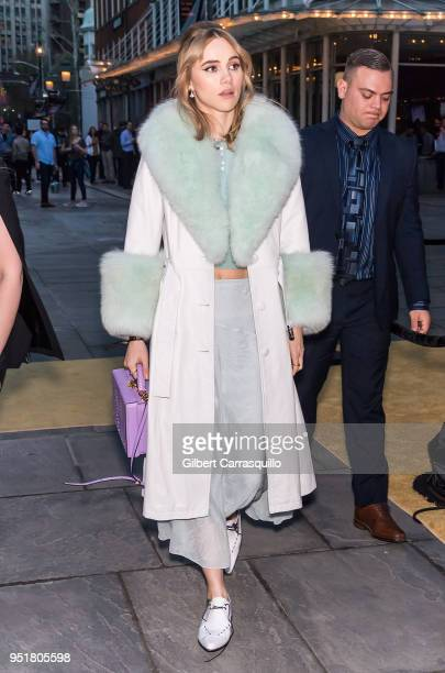Model/actress Suki Waterhouse is seen leaving the BVLGARI world premiere screening of 'The Conductor' and 'The Litas' during the 2018 Tribeca Film...