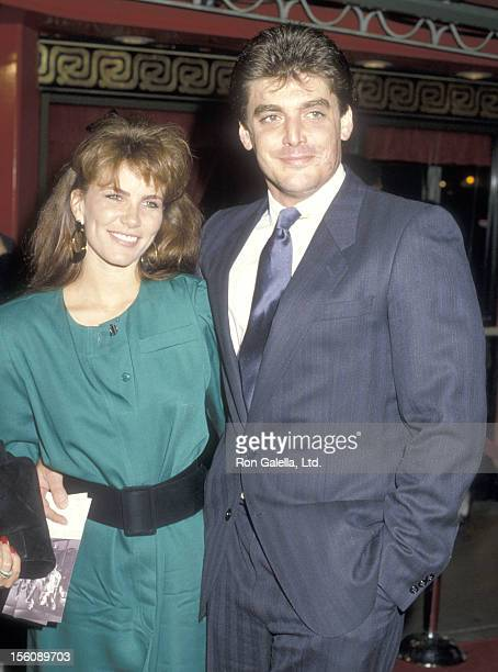 Model/actress Tawny Kitaen and actor Todd Curtis attend the ''Round Midnight' Hollywood Premiere on October 16 1986 at Mann's Chinese Theatre in...