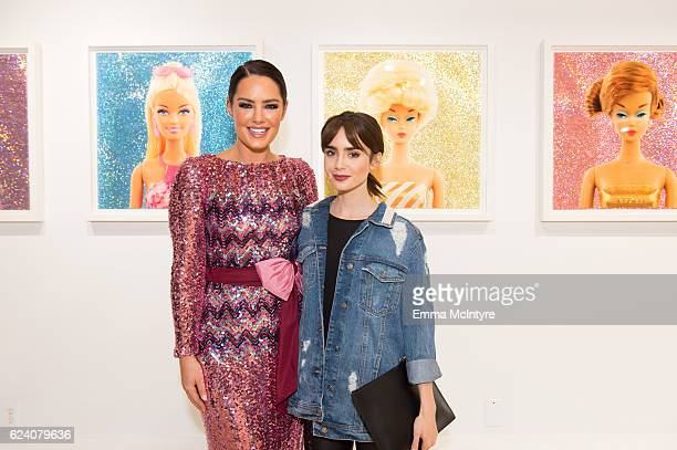 Model/artist Beau Dunn and actress Lily Collins attend Beau Dunn's 'Plastic' opening at De Re Gallery on November 17 2016 in West Hollywood California