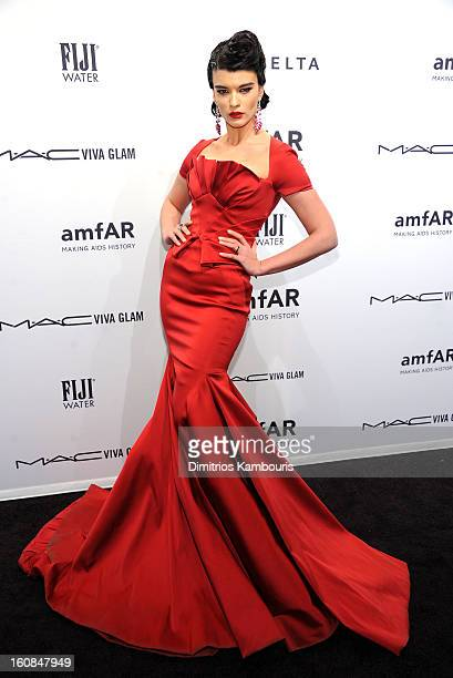 Model/Author Crystal Renn attends the amfAR New York Gala to kick off Fall 2013 Fashion Week at Cipriani Wall Street on February 6 2013 in New York...
