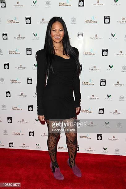 Model/author Kimora Lee Simmons arrives at the Deepak Chopra MYMAG Launch event at Thompson Hotel on November 12 2010 in Beverly Hills California