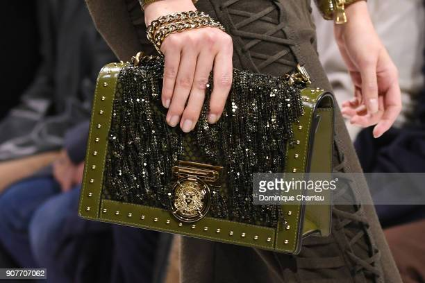 A modelbag detail walks the runway during the Balmain Homme Menswear Fall/Winter 20182019 show as part of Paris Fashion Week on January 20 2018 in...